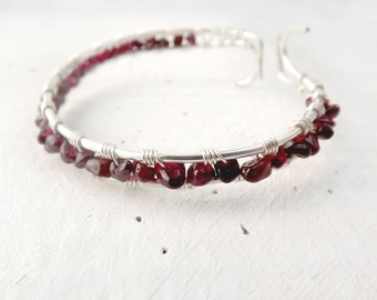 Garnet Wire Wrapped Bracelet with Silver Plated Copper Wire