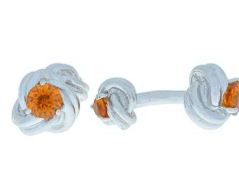 2.5 Ct Orange Citrine Knot Cufflinks .925 Sterling Silver Rhodium Finish
