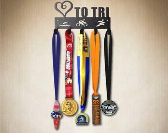 Medal Hanger Love to Tri , Medal Holder, Medal Hook, Medal Display ( hang 15+ medals)many designs available : www.sporthooks.com