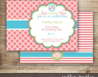 Pink Polka Dots Monogram Birthday Invitation / 1st, 2nd, 3rd Girl's Birthday Invitation / Pink & Turquoise Invitation - Printable