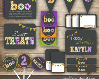 Halloween Birthday Party, Boo Halloween Party Printables, Halloween Party Package, Halloween Decorations,  Children's Halloween Party