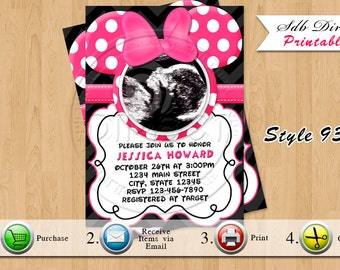 items similar to mickey minnie mouse baby shower invitation, invitation samples
