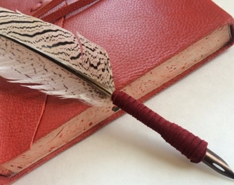 Red Wrapped Silver Pheasant Quill with Ink