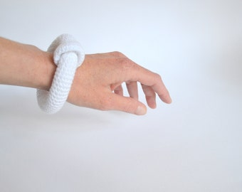 White minimal bracelet - white crocheted bangle bracelet - fiber art jewelry - modern crochet