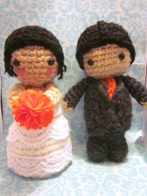 Items similar to Custom Bridal Couple Bride and Groom ...