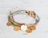Leather initial gold bracelet - gold tube bar personalized jewelry stamped wedding bridesmaid gift bridal tiny bangle friendship charm minim
