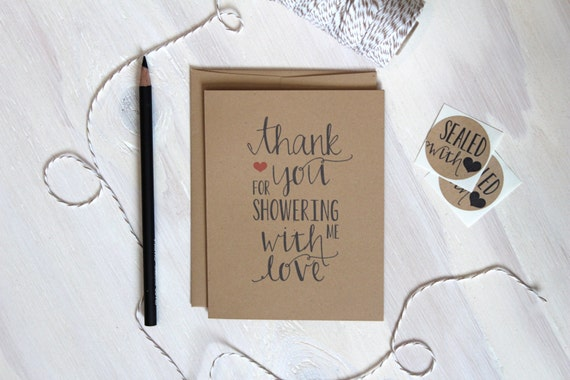 5 Rustic Kraft Shower Thank You Cards, Baby Shower Thank You, Wedding Stationery, Rustic Bridal Shower Thank you, Stationery, Stationary