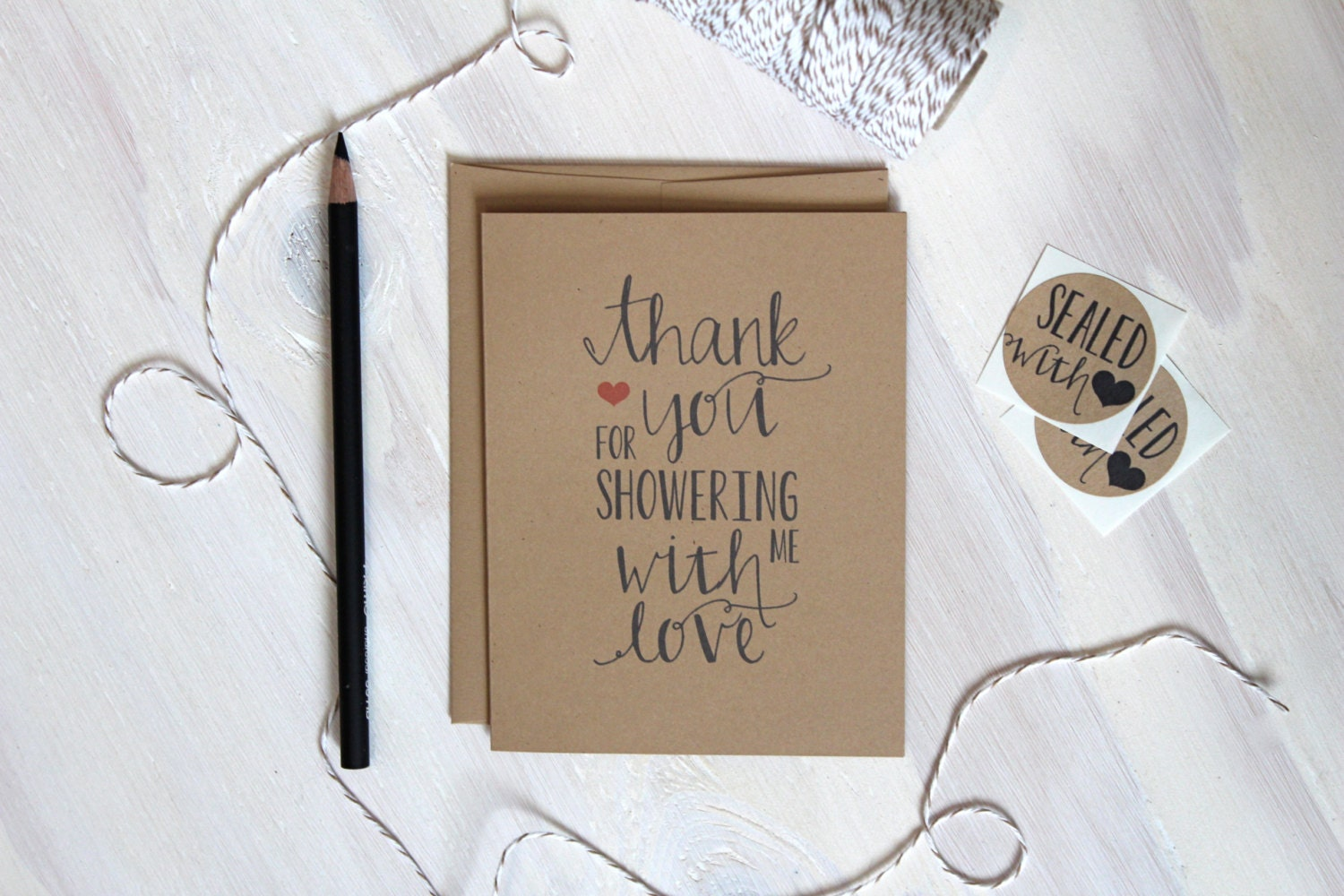 5 rustic kraft shower thank you cards baby shower thank you