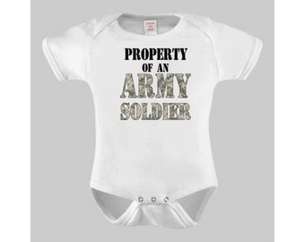 Army Baby, Property of an Army Soldier Military Baby Bodysuit or Toddler Tshirt, Baby boy, Baby Girl