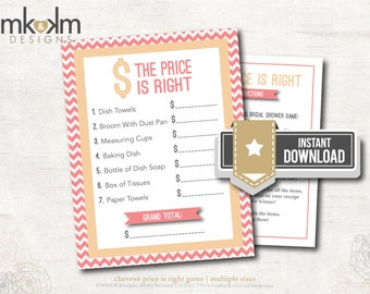 The price is right bridal shower game modern chevron for Price is right bridal shower game template