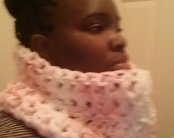 Pink and White Cowl