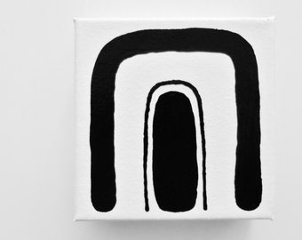 RAiNBoW - 5 x 5 inch Canvas - Small Abstract Art Acrylic Painting Black White Cute Modern Art Canvas Painting Rainbow Painting - LYNDA BLACK