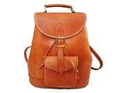 Large Handmade Unisex Brown Leather Backpack