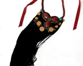 ROYAL soutache statement tassel necklace