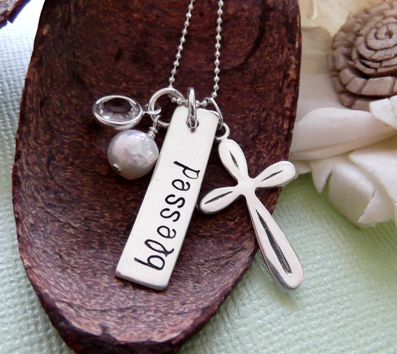 Blessed Necklace- First Communion Necklace-  Personalized Cross Necklace-  Hand Stamped Cross Necklace-Confirmation Necklace-Cross Necklace