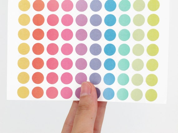 10mm Round Pastel Stickers (Assorted) - Mini dot stickers for scrapbooking - Yellow, Orange, pink, purple, mint and lime-green