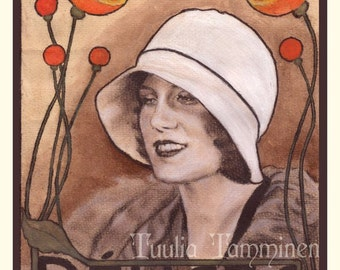 Fine art original Art Nouveau painting drawing mixed media on coffee worked watercolour paper, french poster - Délices by Tuulia Tamminen