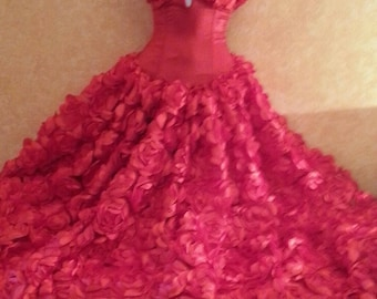 Sample Gown Listing Only / Red Rose Goddess Middle Eastern Inspired Strapless Bridal Wedding Formal Ball Gown