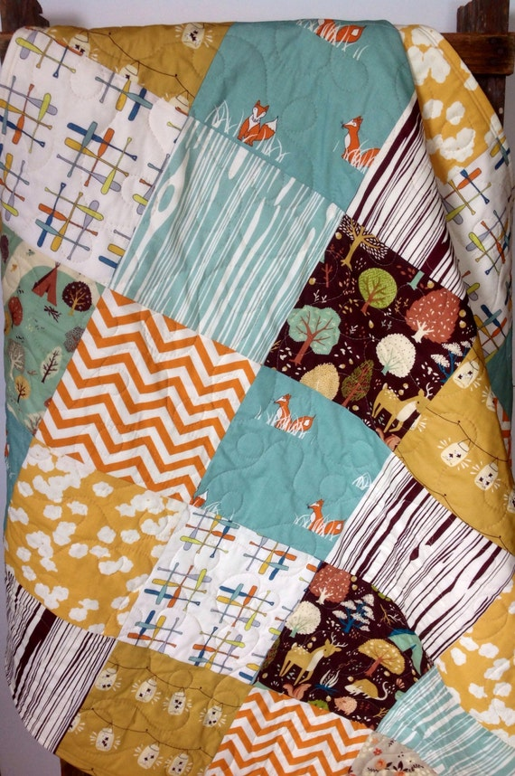 Patchwork baby quilt organic gender neutral woodland by for Baby themed fabric