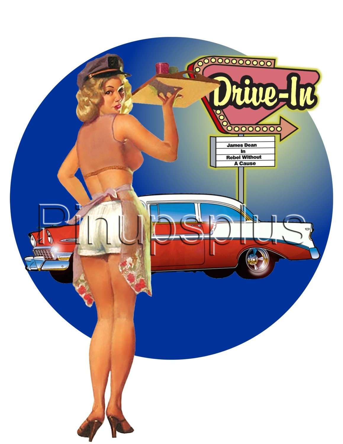 Retro 50s Drive-In Pinup carhop Waterslide Decal for guitars