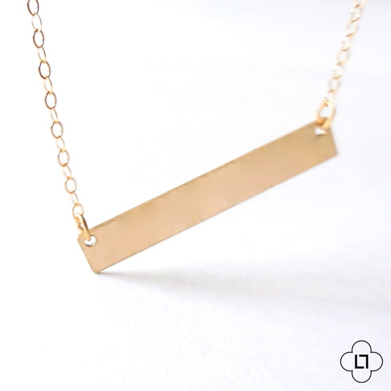 14k Gold Bar Necklace, Delicate Gold Layer Necklace, 14k Gold Chain, Dainty Gold Necklace, Thin Gold Chain, Everyday Necklace