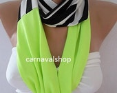 Infinity Scarf.Circle Scarf.Loop Scarf.Black and white stripe and neon green loop scarf soft and light