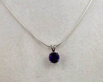 African Amethyst Pendant Necklace - Solitaire Pendant -  Necklace - Sterling Silver Setting with a 7mm Purple African Amethyst