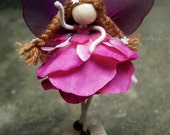 Ruby Petal Princess Doll, Fairy Miniature, No face doll, Purple Fairy Doll , Angel Ornament