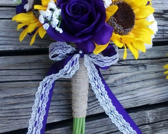 Sunflower Bouquet, Purple Rose Sunflower Bridal Bouquet, Sunflower Burlap Bouquet, Rustic Bouquet, Sunflower Wedding Bouquet, Purple Bouquet