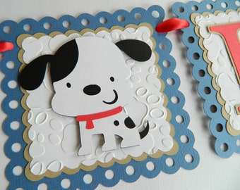 Puppy Name Banner Personalized Puppy Banner Puppy Birthday Party Dog Birthday Party Puppy Party Decorations Boy Birthday Party