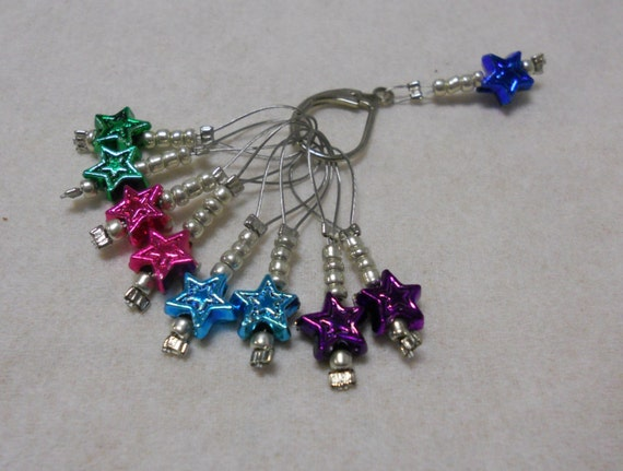 Beaded Knit Stitch Marker Pattern : Knitting Stitch Markers Set of 9 Beaded Stitch by MyWindowSIL