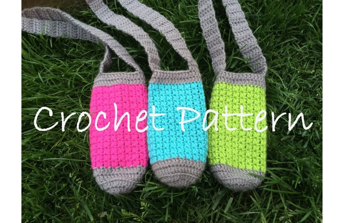 Free Crochet Pattern Water Bottle Holder : PATTERN PDF Crochet Water Bottle Holder Bottle Buddy Hiking