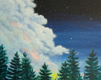 """Original Landscape Painting Acrylic Twilght and Pines 16"""" x 20"""" Art by Glorianna"""