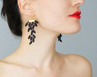 Glabrio Black Earrings Lace Earrings Long Earrings Dangle Earrings Fabric Earrings Statement Earrings Gold Earrings For Her