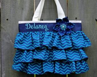 Ruffled Canvas Tote Bag Navy Blue and Teal Chevron Little Girl Purse, Diaper Canvas Tote, Canvas Diaper Purse