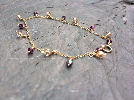 Dainty Gold Filled Charm Bracelet with Swarovski Crystals in Purple and Gold, thin, charm, wrapped, handmade