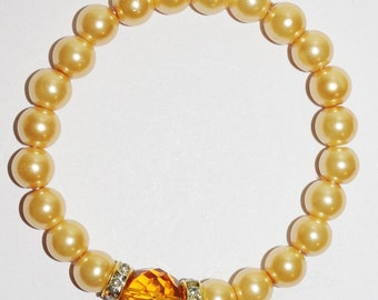 Yellow Stretch Bracelet Crystals and Glass Pearls Handmade      - S336