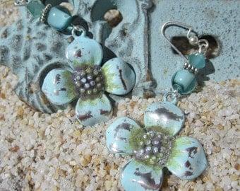 Baby Blue Flower Boho Earrings
