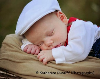 Newsboy hat for baby, white denim newsboy cap, white hat for toddler, white cap for kids, white Christening hat for boy baby -made to order