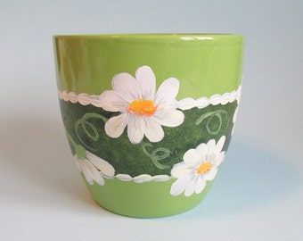 Lime Green Daisy Pot Hand Painted 5 Inches Tall Green Decorative Floral