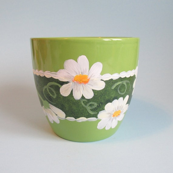 Daisy Kitchen Decor: Lime Green Daisy Pot Hand-painted 5 Inches Tall Green