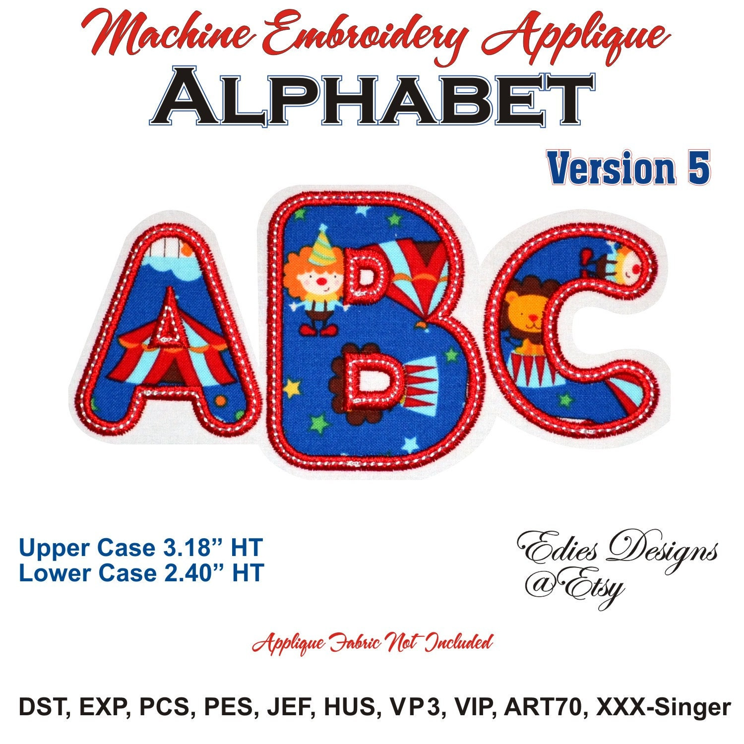 Applique alphabet machine embroidery digital