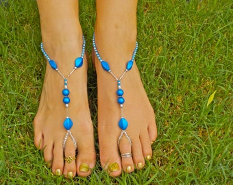 Silver and Blue Barefoot Sandals - Other colors available