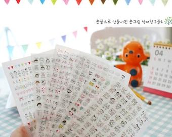 PVC Sticker - Drawing Deco Sticker Set - Korean Sticker - Diary Sticker - Face - 6 sheets in