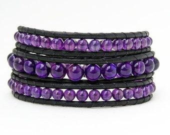 Amethyst Stone Bracelet Purple Amethyst Leather Wrap Bracelet, Crystal Amethyst Bracelet