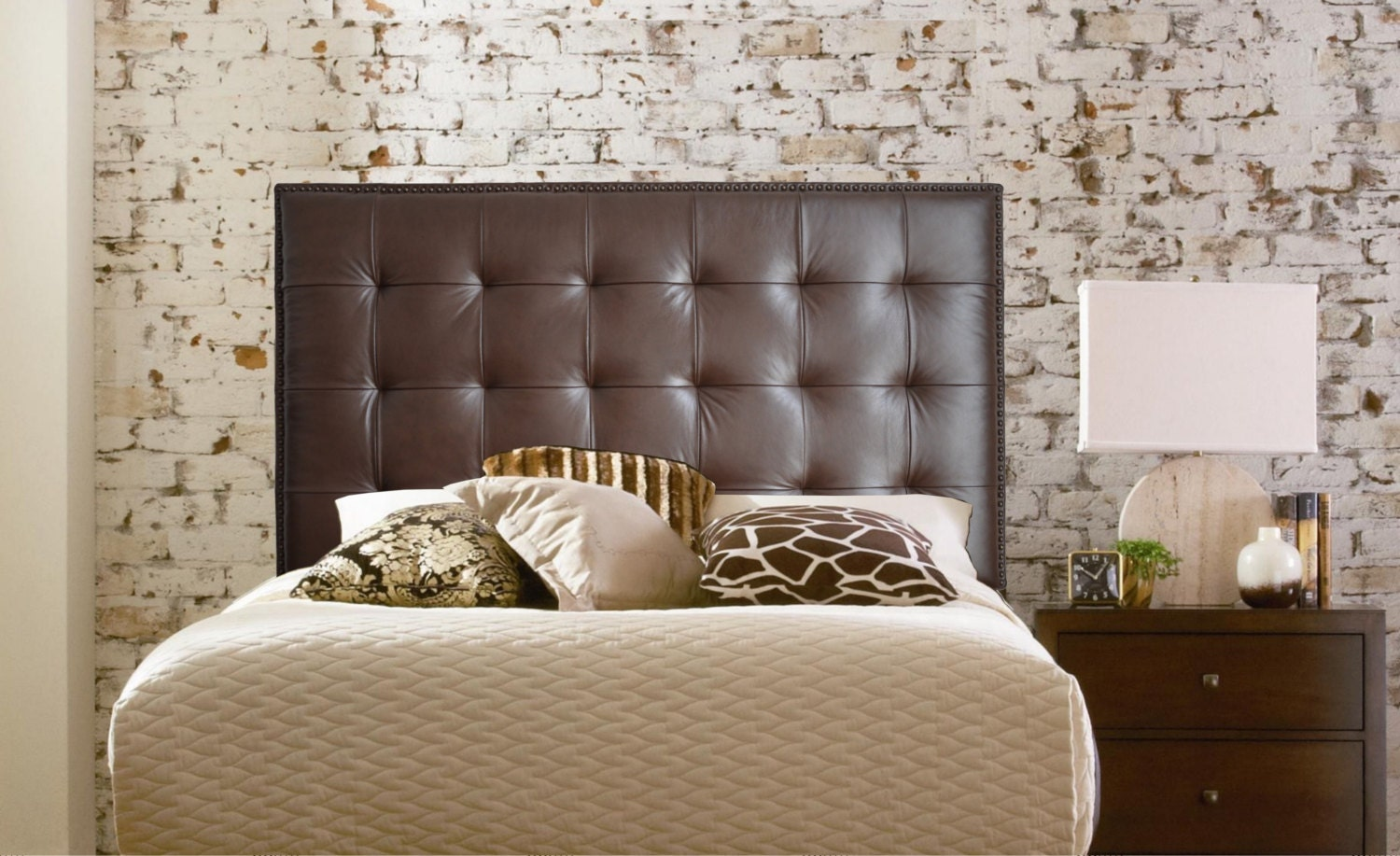Wall Mounted Queen Size Extra Tall Headboard Upholstered In Chocolate Genuine Leather With Nail
