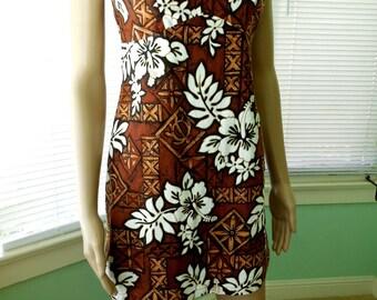 Hawaiian TIKI DRESS/Wiggle Dress/Hawaiian Sun Dress/Mini Dress/Luau Dress/Island Wear Aloha Dress/Retro 70s 80/Womens Petite Size 2 Small