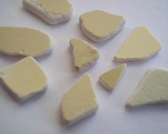 Scottish Sea Glass beach finds 9 yellow sea pottery shards