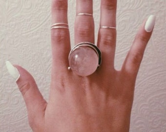 Rose Quartz Crystal Ball Ring - Adjustable Ring