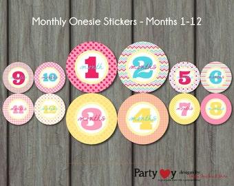 Monthly Onesie Stickers, Rubber Ducky Onesie Stickers, Month to Month Onesie Stickers, Rubber Duck, DIY, Baby Shower Gift, Design 008